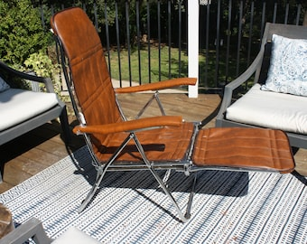 Vintage MCM Foldable Faux Leather & Chrome-Plated Metal Lawn Chair / Lounge Chair with Retractable Ottoman