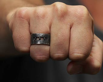 Mens Rings With Stones Wedding Band Black Uncut Diamonds Ring Jewelry