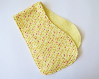 Contoured Burp Rag: Bright Yellow with Magenta Squares and Yellow Terrycloth