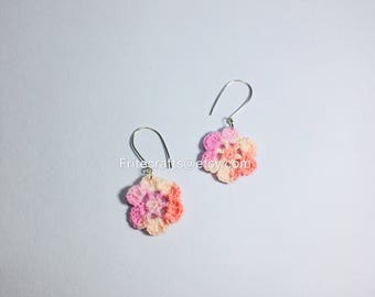 Earrings, dangles, flower earrings, sterling silver studs, crocheted earrings, handmade earrings, rainbow flower