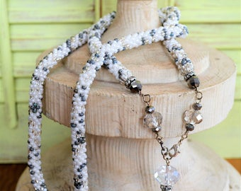 Silver and pearl bead crochet statement necklace