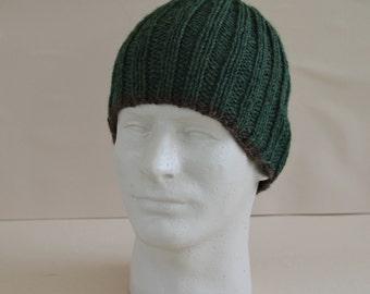 Men's Beanie Forest Green Brown Ribbed Knit Hat Toque Warm Winter Merino Wool