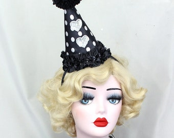 Clown Hat, Birthday Party Hat, Halloween Costume, Circus Costume, Sparkly Hearts, Cirque Costume, Classic Clown, Girls Party Hat