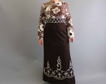 vintage maxi dress . brown full length gown . 1960s / 1970s maxi dress . womens large xl
