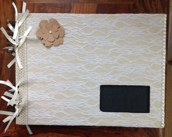 Photo album wedding, country chic, rustic, linen, lace, kraft, hand decorated