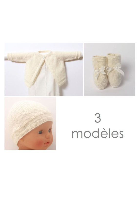 Baby set / 3 Patterns / French instructions / PDF Instant download
