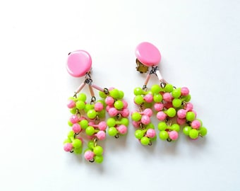 Vintage Hot Pink and Lime Green West German Mod Earrings/ Retro Fabulous!