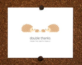 Hedgehogs Twin Thank You Cards. Baby Shower Thank You Cards. Twin Baby Thank Yous. Personalized Stationery (Set of 10)