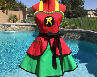 Robin Inspired Costume Apron, Sassy Apron, Womans Plus Sizes, Little Girls Sizes, Comicon, Dress Up Costume, Pin up, Gotham Batman and Robin