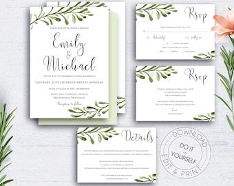 Rustic Wedding Invitation Suite Template Wedding Set