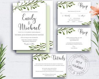 Greenery DIY Invitation Suite, Wedding Set, Watercolour, Wedding Invite, Invitation Template, Editable, Download,Green Leaves,Suite Template