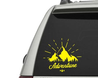 Adventure Vinyl Decal - Mountains - The Great Outdoors - Car Window Decal or Laptop Decal - Choose your Size and Color