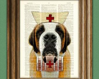 Nurse Slobber Saint Bernard Dog with whiskey keg and red cross original art vintage dictionary page book art print St.