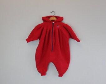 Vintage Red Fleece Winter Jumpsuit by Hartsrings Baby