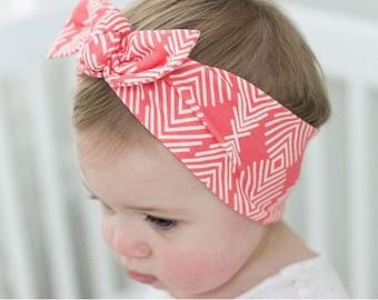 Coral Geometric - baby top knot headband