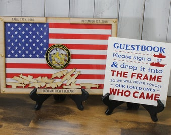 Personalized Guest Book/Flag/Navy/Coast Guard/Army/Air Force/Military/Retirement/Guest Book/Wood Shape/Submarine/Ships