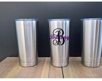 YETI Tumbler Monogram ~ Stainless Steel ~ 20 oz Rambler Tumbler ~ Silver ~ Coffee mug or cup ~ Monogram ~ Personalized Yeti