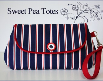 Snap and Go Nautical inspired, Red, White and Blue Striped Wristlet / Vintage Button