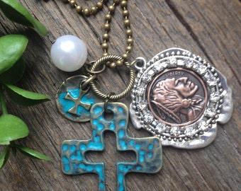 Turqouise Cross Pendant w/Indian Coin, Cross Pendant, Turqouise, Antique Brass