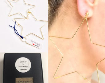 Invisible Clip On Hoop Earrings Extra Large, Hoop Earrings Star, Exageratted Hoop Earrings #17