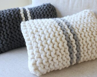 Knit Cushions with french stripe. Chunky Throw Pillow. Extreme Knit Cushion. French stripe Cushion. One of a kind Cushion Set.