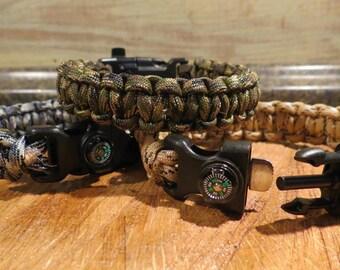 Paracord Survival Bracelet w/ 5 accessories- size 10 inch