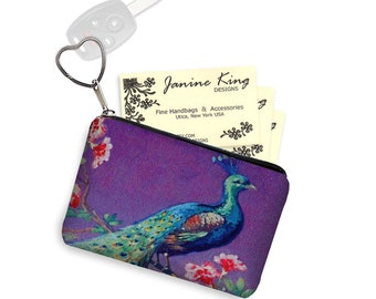 Purple Peacock Fabric Business Card Holder Keychain Change Purse Small Zipper Coin Purse  Credit Card Holder Leather Key Fob teal red  RTS