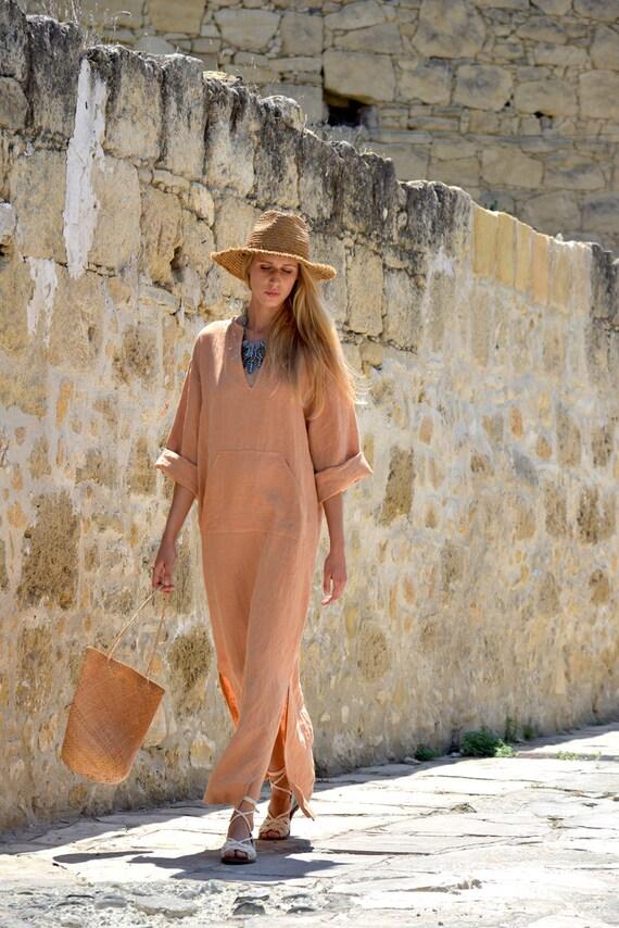 orange Soft linen kaftan tunic Loose caftan Long JEFF comfortable fit pure women's 1OREw