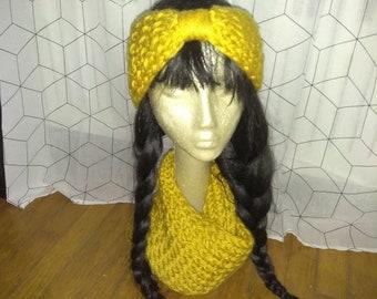 Golden yellow circle infinity knit scarf & earwarmer headband