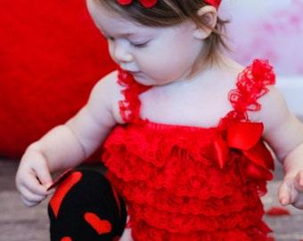 Red Baby Headband, Infant Headband, Newborn Headband - Red Headband  Frayed Chiffon and Lace Flower Headband