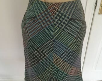 Vintage 1970's - A Line Heavy Tweed Skirt By Glen-Har Scotland - Approx UK 12.