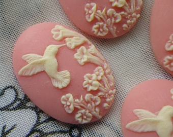 Dainty Pink Hummingbird 25x18mm Cameos in Resin 4 Pcs