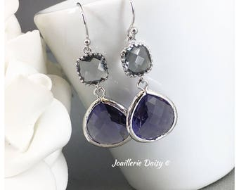 Bridesmaid Earrings Grey and Purple Amethyst Earrings Tanzanite Earrings Mother of Groom Gift Mother of Bride Gift for Her Violet Wedding