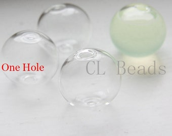 6 Pieces Hand Blown Hollow Glass Beads- Round Clear with One Hole on the Top 20mm (28H2)