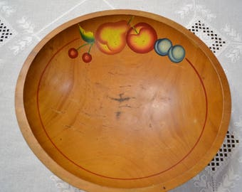 Vintage Wooden Bowl Painted Fruit Theme Dough Fruit Bowl Country Kitchen Farmhouse Decor Gift Panchosporch