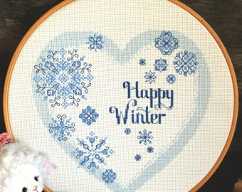 Winter cross stitch pattern, happy winter calligraphy, heart embroidery