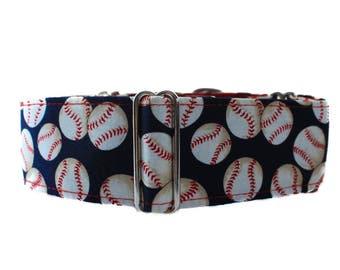 Baseball MartingaleDog Collar, Baseball Dog Collar, 2 inch Martingale Collar, Blue Dog Collar, Martingale Dog Collar