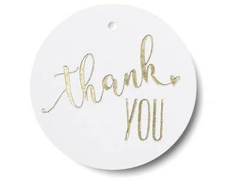 Gold Thank You Wedding Favor Tags (Pack of 25)