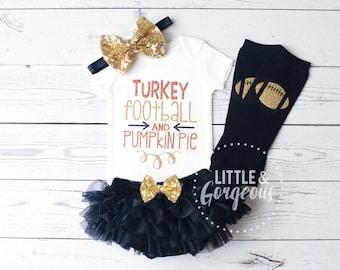 Thanksgiving Outfit, Girls Fall Onesie, Turkey Football Pumpkin Pie Onesie, Pumpkin Spice, Thanksgiving Onesie, Girls Fall, ONESIE ONLY