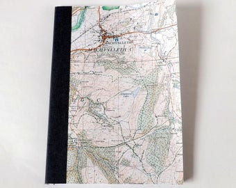 Machynlleth - Snowdonia (Dolgellau) Map 1984 #9 - Recycled Vintage Map Handbound Notebook with Upcycled Blank Pages