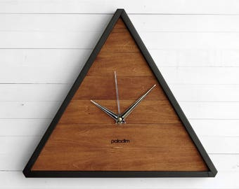 Modern Clock – Triangle Wood Wall Clock Ideal for Your Geometric Decor