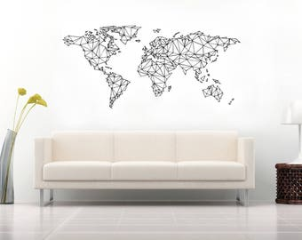 World Map Wood Sign - Home Wood Decor - Wall Hanging