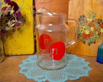 Beautiful Vintage Red Sun Tea Glass Pitcher Serving Entertaining Clear Glass Suntea