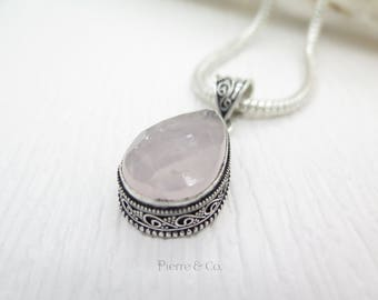 Faceted Rose Quartz Sterling Silver Pendant and Chain