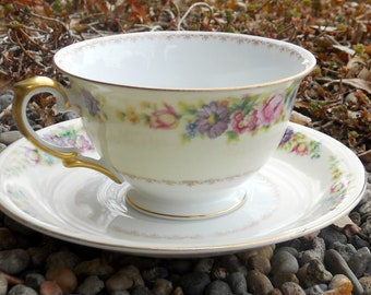 Two China Teacups and Saucers, Meito China Cups, Afternoon Tea, Vintage Teacups, Flowered, Gold Trim, Cup and Saucer, Mothers Day Gift