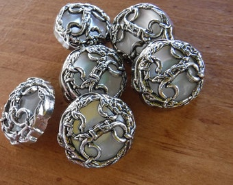 "6 Silver and Clear Tied Rope Round Shank Buttons Size 1""."