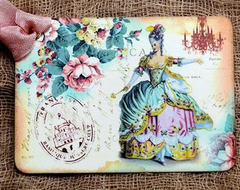 French Marie Antoinette  Floral Gift or Scrapbook Tags or Magnet #409
