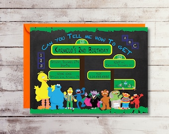 Sesame Street Themed Birthday Invitations