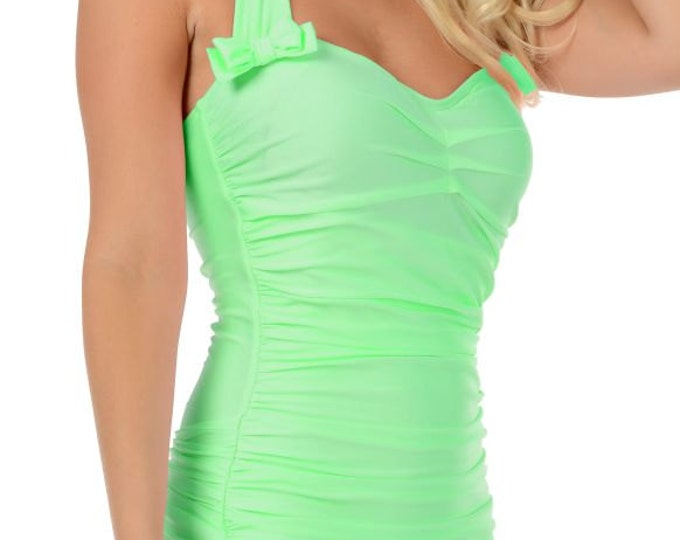 Rita Ruched Front Bow Back Onepiece Halter Swimsuit in Pastel Mint Green M ONLY