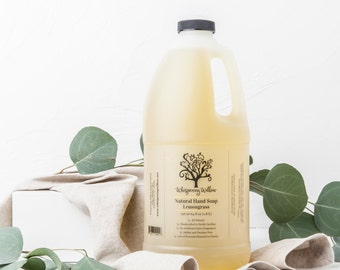 Natural BULK Liquid Soap (64oz) - Made with Organic Essential Oils - Lavender, Lemongrass, Peppermint, Tea Tree or Rose